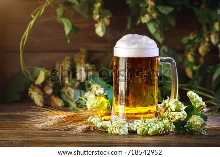 A glass of fresh beer on a wooden table.