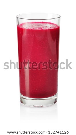 A glass of fresh beet vegetable juice isolated on white background. - stock photo