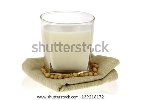 A Glass of Fresh Soy Milk (Soybean Milk, Soya) - stock photo