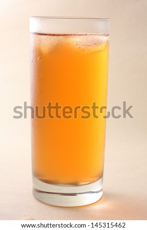A glass of ice lemon tea, drink on white background . - stock photo