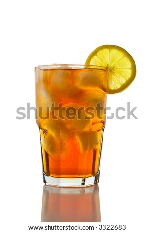 A glass of Ice Tea with a lemon slice on white.