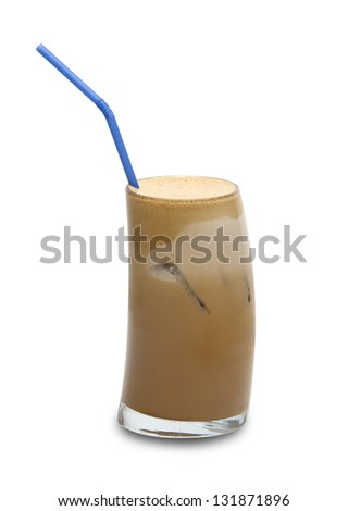 a glass of iced coffee with milk-path included - stock photo