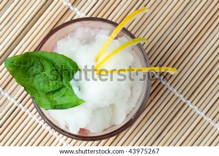 A glass of Italian Sorbet with lemon rinds and a leaf of mint on top - stock photo