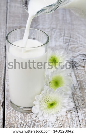 A glass of milk on old wooden board