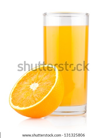 a glass of orange juice - stock photo