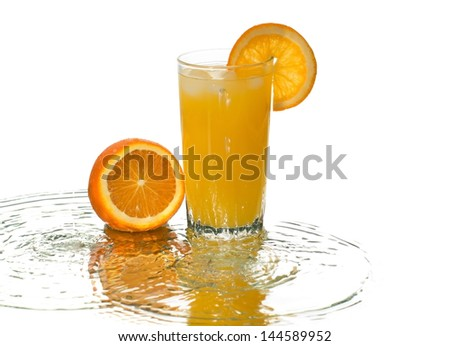 A glass of orange juice and reflected waves smashed