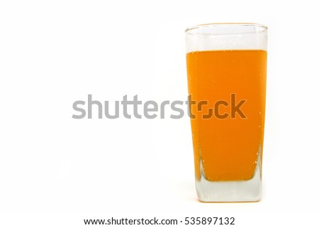 A glass of orange juice isolated on white background.