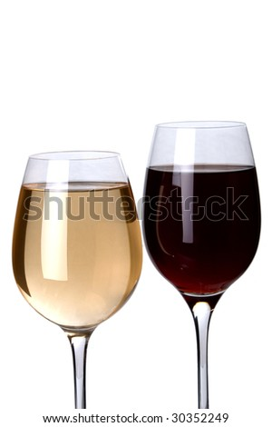 a glass of red and white wine