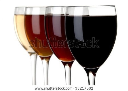 a glass of red wine and a white wine