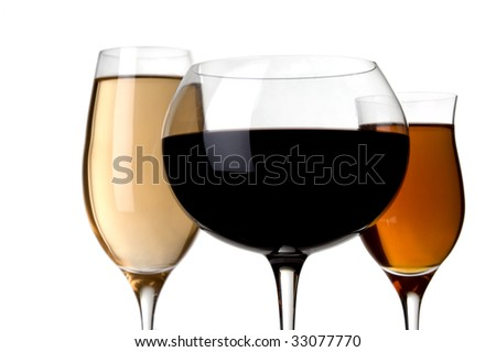 a glass of red wine and white wine