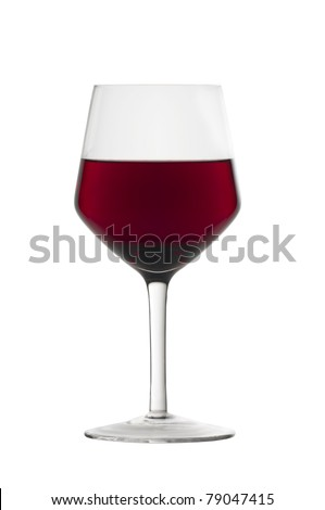 A glass of red wine isolated on white background - stock photo