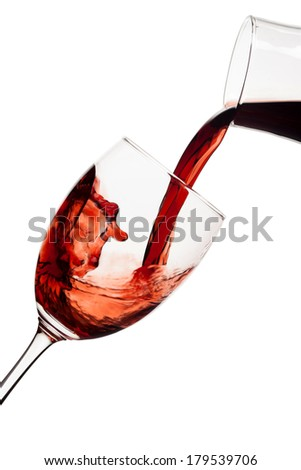 A glass of red wine on white background