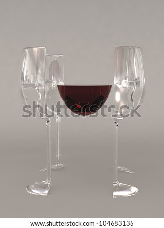 A glass of red wine that has been segmented into 4 sides and the wine in the middle - stock photo