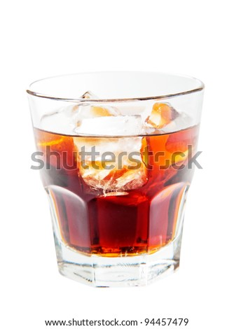 A glass of rum and coke isolated on white background