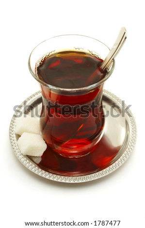 A glass of Turkish Tea. - stock photo