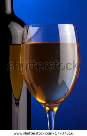 a glass of white wine and a bottle and grape