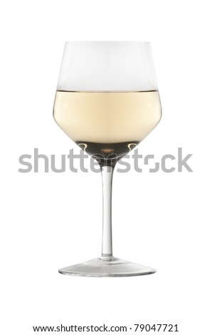 A glass of white wine isolated on white background - stock photo
