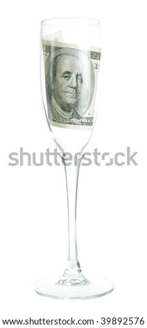 a glass of wine and $ 100 inside