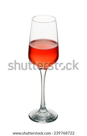a glass of wine isolate on white clipping path - stock photo
