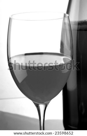 a glass os white wine and a bottle