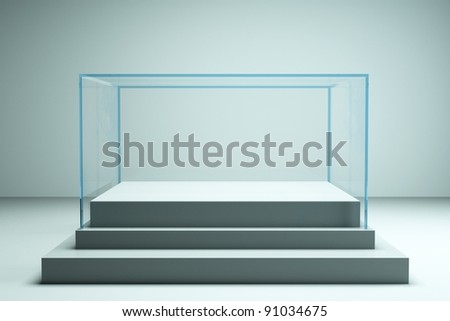 a glass showcase in a room - stock photo