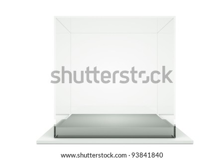 a glass showcase isolated on white - stock photo