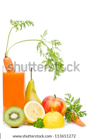 a glass with carrot juice and fruit before white background - stock photo