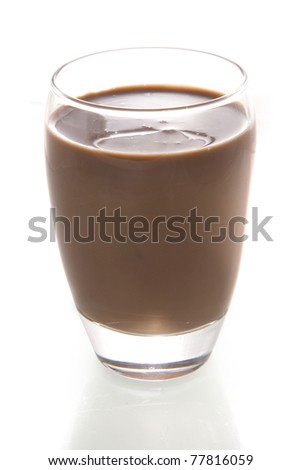 a glass with chocolate-milk - stock photo