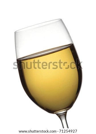 A glass with white wine - stock photo