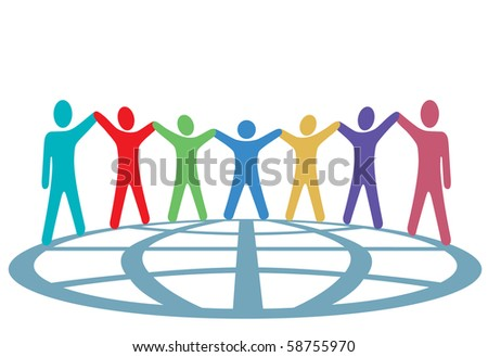 A global group of symbol people hold up their arms and hold hands around a globe in a spirit of togetherness. - stock photo