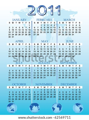 a global themed calendar for the year 2011 - stock photo