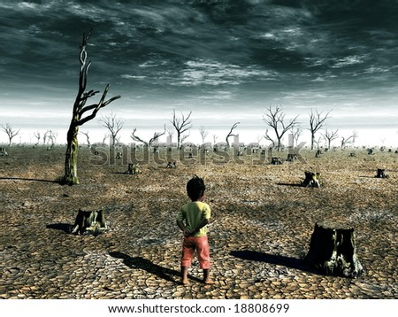 A global warming illustration with a girl facing a dead forest field. - stock photo