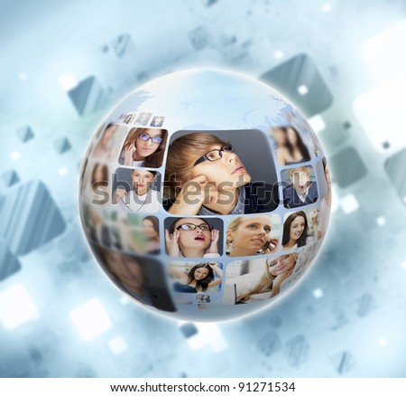 A globe against blue background with many different people's faces. Can represent a technology social network of friends and communication. - stock photo