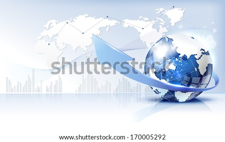 A globe complete with an upwards arrow. - stock photo