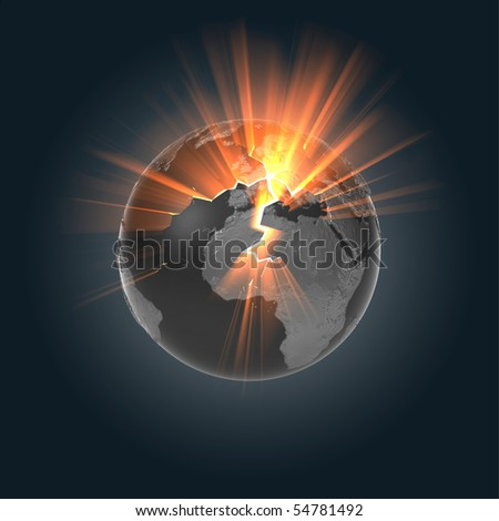 A globe made from dark metals with cracks on it's surface. Bright, orange light from it's core is shining through into space. - stock photo