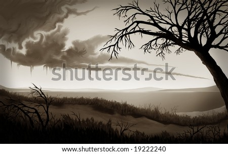 a gloomy monotone landscape painting of clouds melting in the sky above a deserted beach