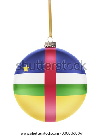 A glossy christmas ball in the national colors of Central African Republic hanging on a golden string isolated on a white background.(series) - stock photo