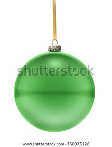 A glossy christmas ball in the national colors of Libya hanging on a golden string isolated on a white background.(series) - stock photo