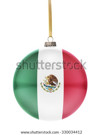 A glossy christmas ball in the national colors of Mexico hanging on a golden string isolated on a white background.(series) - stock photo
