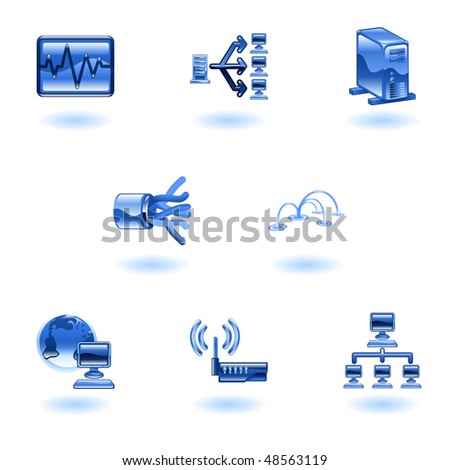 A glossy computer network and internet icon set - stock photo