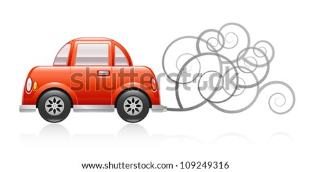 A glossy illustration depicting a red car spewing out pollution. Raster.