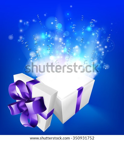 A glowing magical gift box concept for an exciting birthday, Christmas or other gift or present. - stock photo