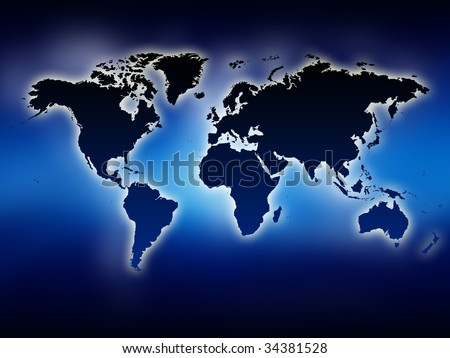 A glowing map of the world. Blue background.