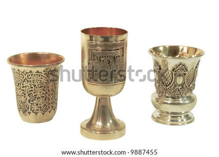 A goblets for passover against the white background. - stock photo