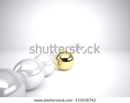 A gold ball in many silver balls concept of leadership - stock photo