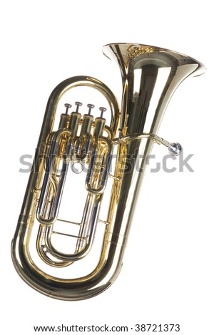 A gold brass euphonium tuba baritone horn isolated against a white background. - stock photo