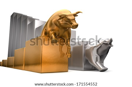 A gold bull and a platinum bear economic trends competing side by side on an isolated white background - stock photo