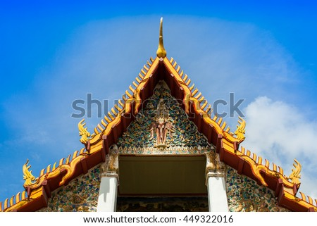 A gold color roof of Buddha temple