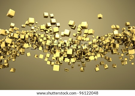 a gold cubes abstract background - stock photo