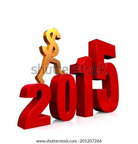 """A gold dollar sign climbing red steps forming from the year, """"2015"""". On white with drop shadow. - stock photo"""